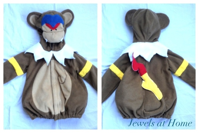 Monferno Pokemon costume for Halloween.  From Jewels at Home.