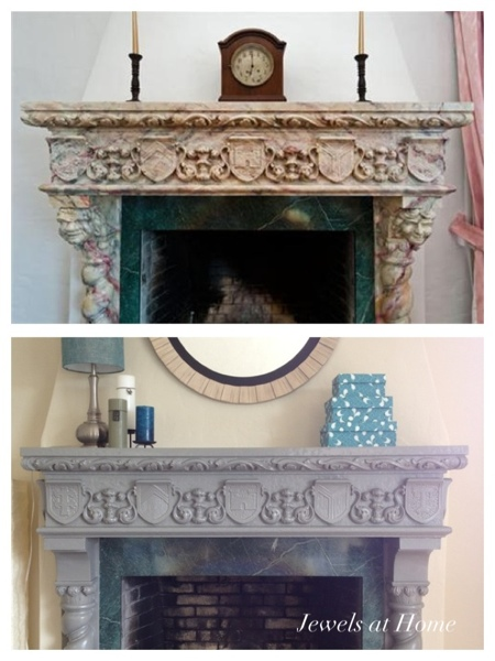 Updating an ornate fireplace.  Before and after.  From Jewels at Home.