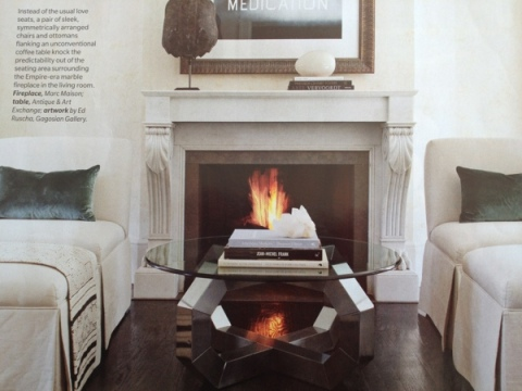 Light grey mantel makes a subtle statement.  House and Home magazine January 2012.