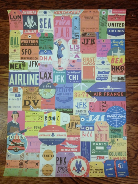 Retro air travel paper from Cavallini a& Co.