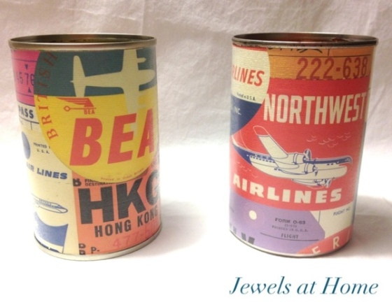 Upcycled DIY pencil tins with cool retro air travel paper.  From Jewels at Home.