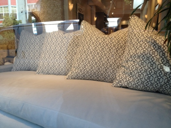 Beautiful grey embroidered pillows at Quatrine in Hayes Valley, San Francisco.