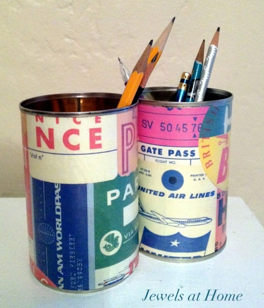 DIY upcycled pencil tins with a cool retro air travel paper.  Jewels at Home.
