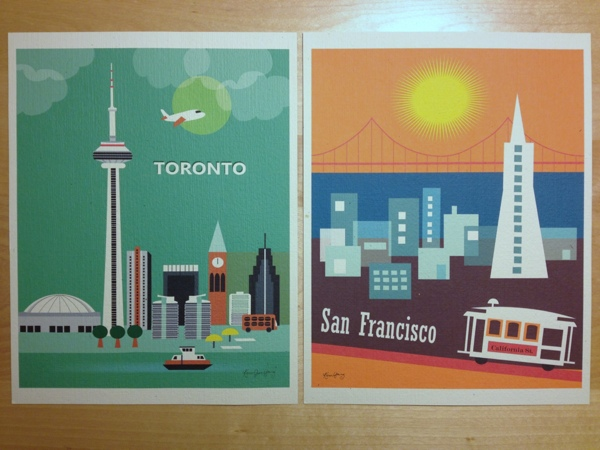 Retro-style city art prints by Karen Young of Loose Petals.