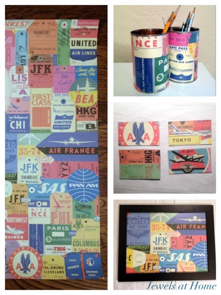 Ideas for fun wrapping paper projects: DIY pencil tins, magnets, and framed art.  Jewels at Home.