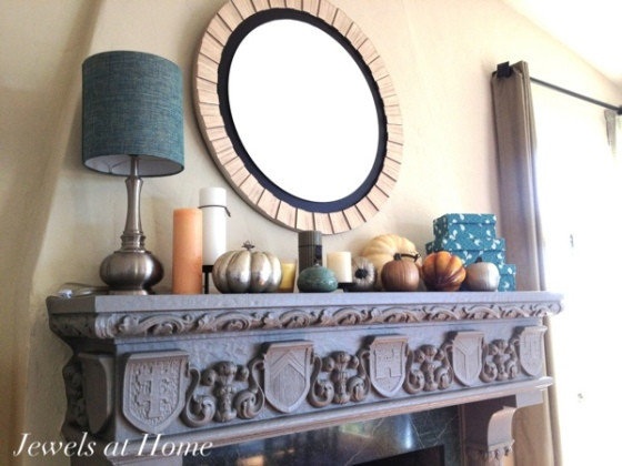 Fall mantel with DIY painted metallic pumpkins by Jewels at Home.