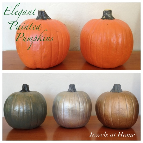 DIY painted pumpkins in metallic hues.  Jewels at Home.