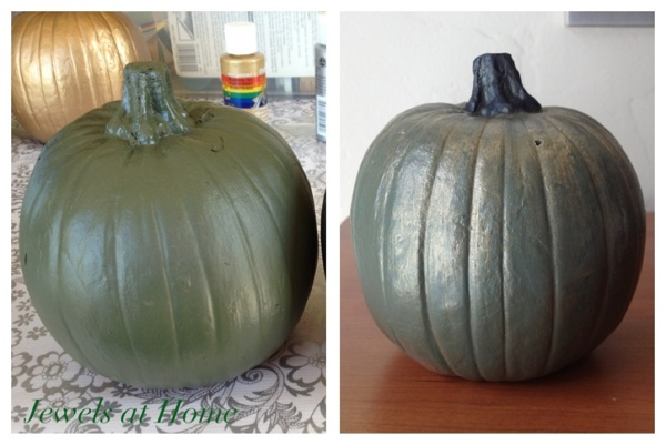 Tutorial for DIY painted pumpkins in metallic hues.  Jewels at Home.