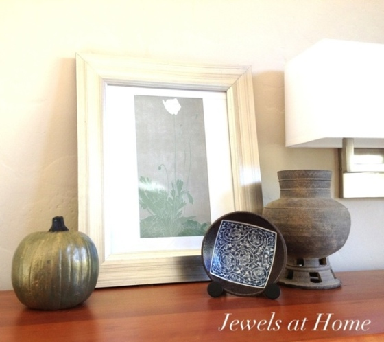 Fall decorating with DIY painted metallic pumpkins by Jewels at Home.