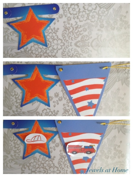Add extra pennants to a ready-made banner, to give you more room for customizing your theme.  Jewels at Home.