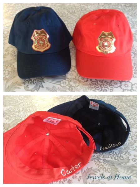 Firefighter birthday.  Buy cotton caps in bulk and add a sticker for a reusable and durable party favor.  Jewels at Home.