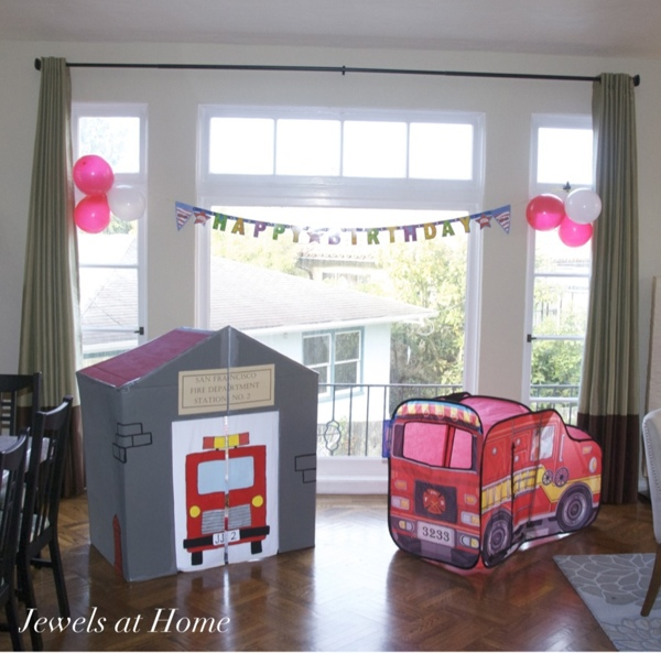 Firefighter birthday with DIY playhouse and pop up firetruck.  Jewels at Home.