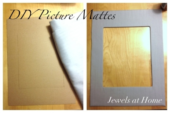 DIY fabric-covered picture mattes with tutorial.  Jewels at Home.