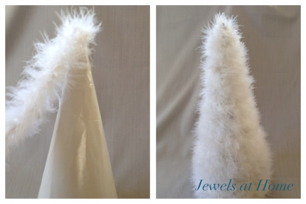 Make your own decorative Christmas tree from a feather boa.  Easy, inexpensive, and unique holiday decor!  From Jewels at Home.