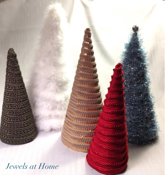 Make your own decorative Christmas trees.  Easy, inexpensive, and unique holiday decor!  From Jewels at Home.