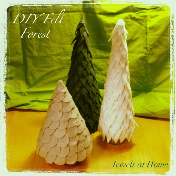 DIY forest of felt Christmas trees from Jewels at Home.