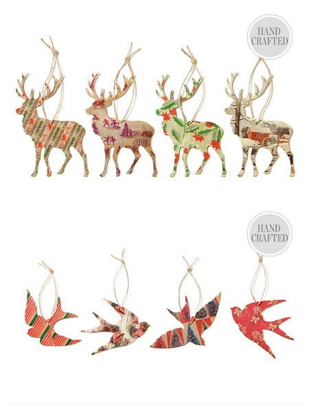 Reindeer and bird silhouette Christmas ornaments seen at One Kings Lane.