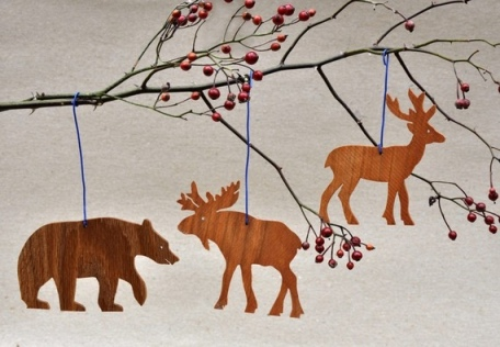 Wooden animal silhouette ornaments from Arks and Animals on Etsy.