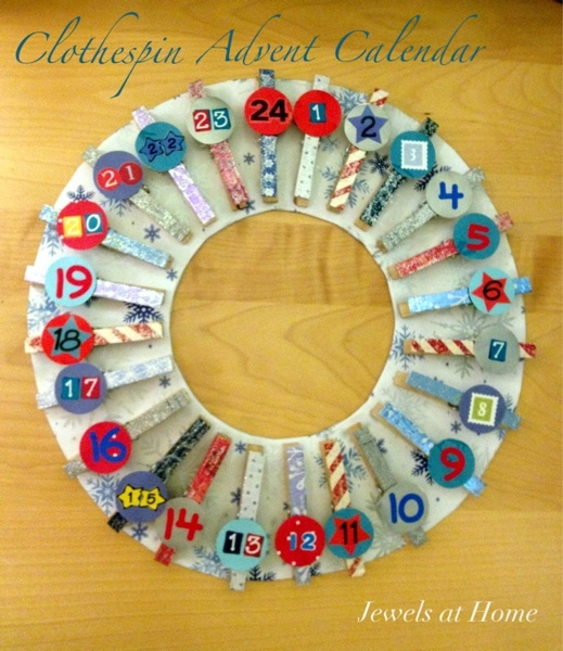 Clothespin wreath advent calendar {Jewels at Home}