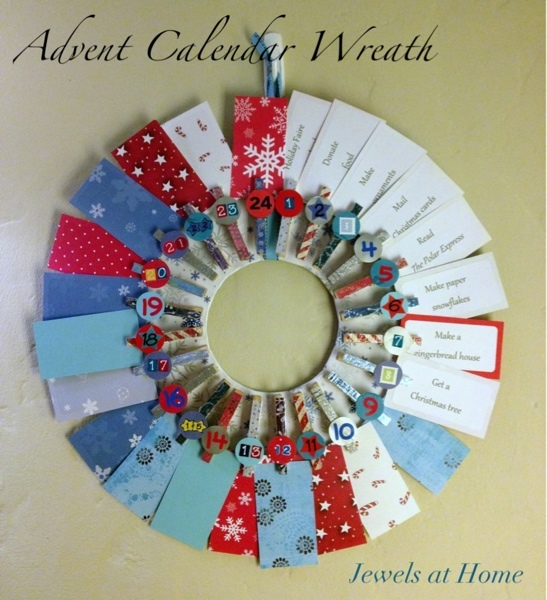 Clothespin wreath advent calendar with a special activity for each day {Jewels at Home}
