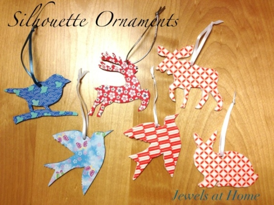 Make these sweet animal silhouette ornaments decorated with origami paper! {Jewels at Home}