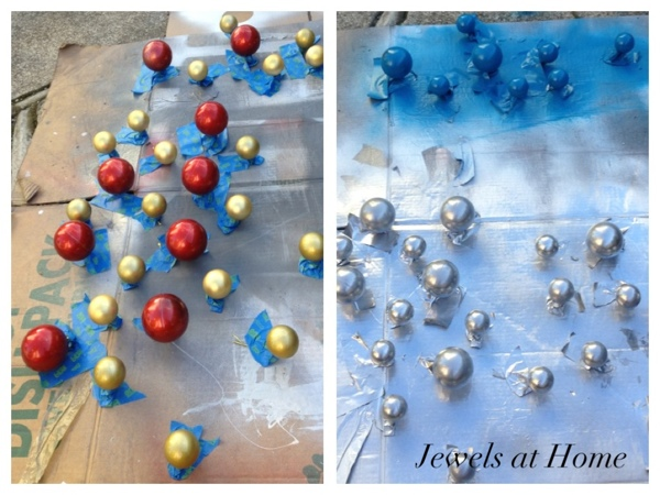 Tutorial on repainting your Christmas ornaments for a fresh look, including a faux mercury glass technique!  {Jewels at Home}