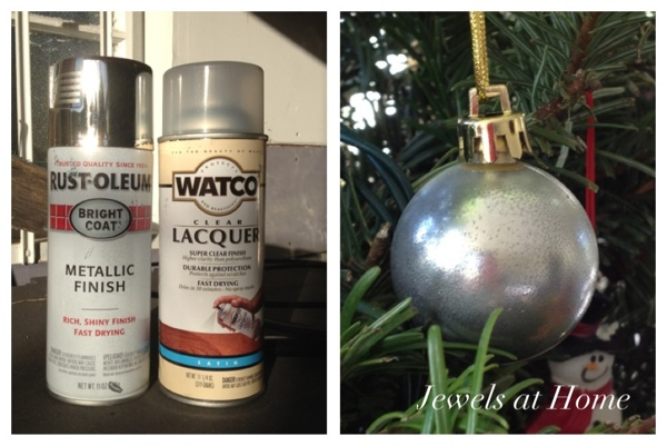 An easy combination of these two spray paints will give you a beautiful faux mercury glass look for your Christmas ornaments or other projects!  {Jewels at Home}