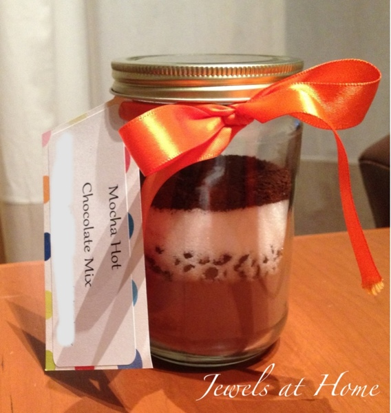 Beautiful and delicious recipes for hot chocolate mixes in a jar.  They make great gifts! {Jewels at Home}