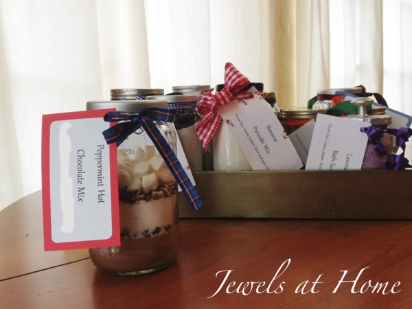 Beautiful and delicious recipes for hot cocoa mixes in a jar.  Perfect gifts!  {Jewels at Home}