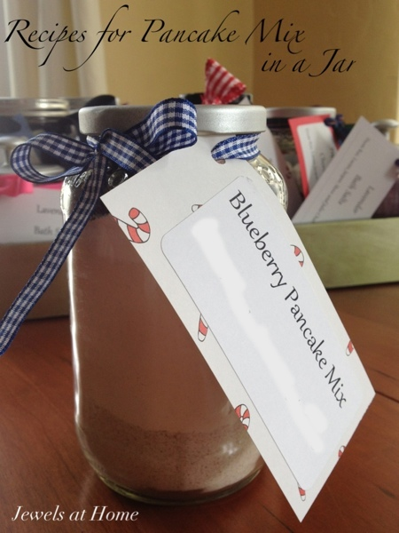 Recipes for pancake mixes in a jar.  These make charming gifts for the holidays or all year 'round.  {Jewels at Home}