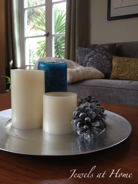 Simple winter coffee table decor. Christmas house tour from Jewels at Home.