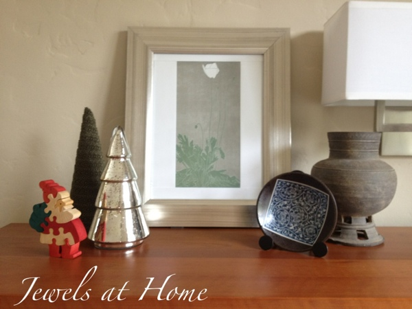 Christmas vignette with trees and a vintage wooden Santa puzzle.  Christmas house tour from Jewels at Home.