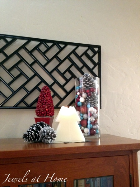 Silver, turquoise, and red Christmas accessories.  Christmas house tour from Jewels at Home.