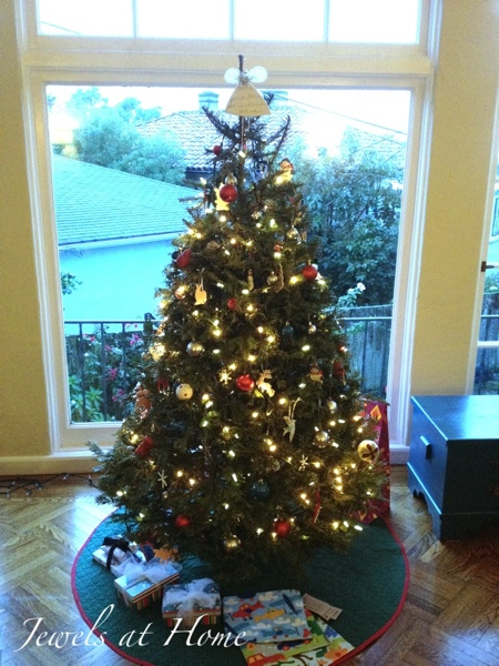 Christmas tree with red, silver, and turquoise.  Christmas house tour from Jewels at Home.