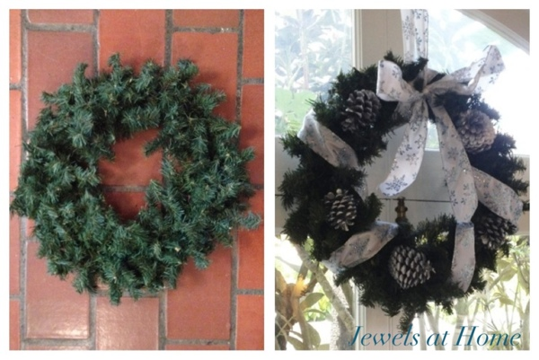 Transform a Christmas wreath with ribbon and painted pinecones.  Plus lots more ideas to add silver sparkle to your holidays.  {Jewels at Home}