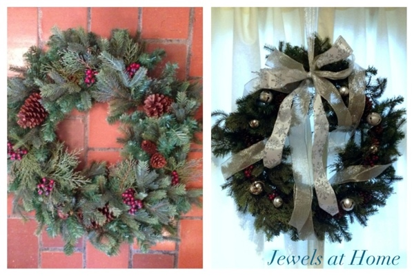 Transform a Christmas wreath with ribbon and silver bells.  Plus lots more ideas to add silver sparkle to your holidays.  {Jewels at Home}
