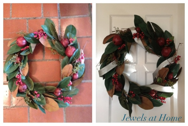 Transform a Christmas wreath with ribbon.  Plus lots more ideas to add silver sparkle to your holidays.  {Jewels at Home}