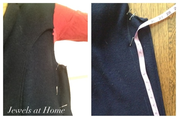 Steps to altering a boxy old coat: taking in the side seams.  {Jewels at Home}