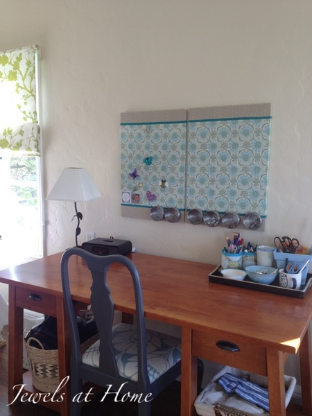 This craft studio makeover is coming together with the new fabric-covered bulletin boards.  {Jewels at Home}