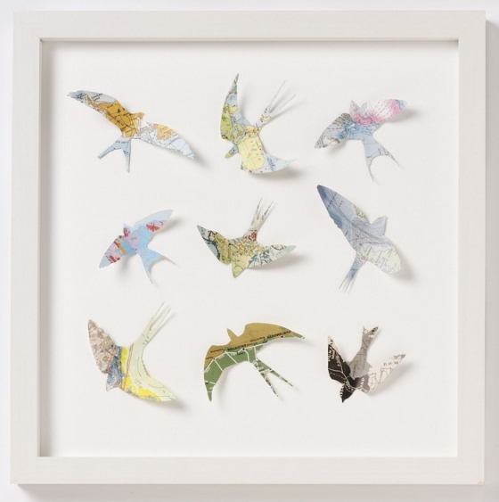 """Bird silhouette art by Bombus on Etsy.  Featured in """"Favorite Paper Art Ideas"""" by Jewels at Home."""