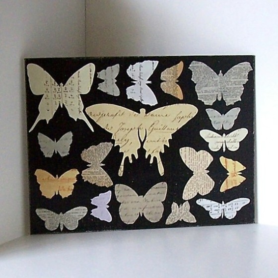 "Butterfly decoupage art by Gathered Together on Etsy.  Part of ""Favorite Paper Art Ideas"" by Jewels at Home."