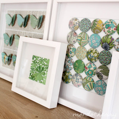 """Mondo Cherry paper and fabric art.  Part of """"Favorite Paper Art Ideas"""" by Jewels at Home."""
