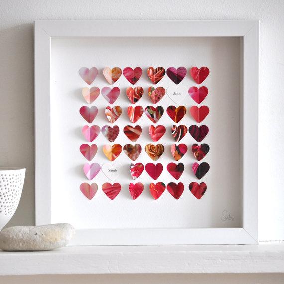 Bespoke Map Heart Trio Artwork By Bombus: Favorite Paper Art Ideas