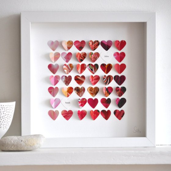 "Hearts collage by Sarah and Bendrix on Etsy.  Part of ""Favorite Paper Art Ideas"" by Jewels at Home."