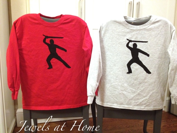 Stencil your own T-shirts with contact paper and fabric paint. The ideas are endless.  These are for a boy's Ninjago birthday party.  {Jewels at Home}