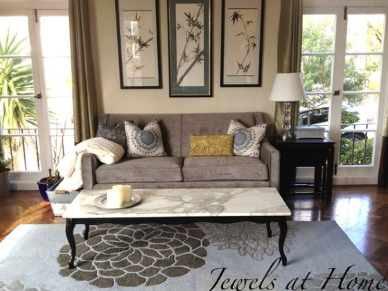 Living room seating area with contemporary regency style.  Paint and some minor repairs brought the vintage coffee table back to life!  {Jewels at Home}
