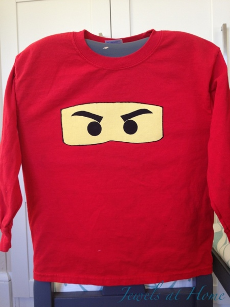 DIY Ninjago T-shirt.  Red for Kai. {Jewels at Home}