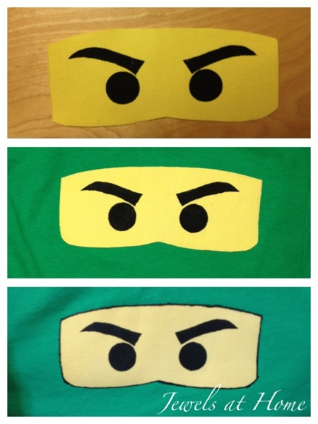 Stenciled Ninjago eyes to use on T-shirts or other projects.  {Jewels at Home}