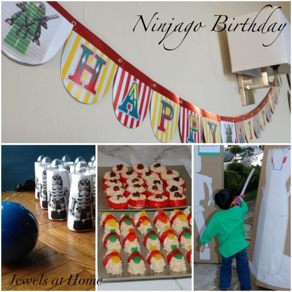 A complete guide to a Ninjago birthday party, with ideas for decorations, activities, food, and party favors.  {Jewels at Home}