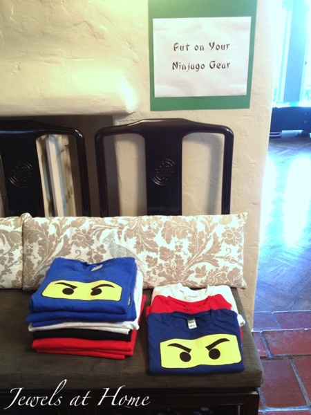 DIY Ninjago T-shirt party favors and many other ideas for a Ninjago birthday from Jewels at Home.